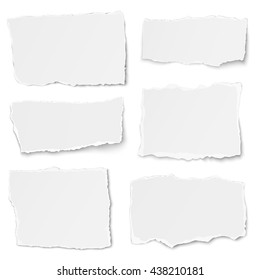 Set of paper different shapes tears isolated on white background