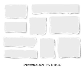 Set of paper different shapes vector scraps isolated on white background. Vector collage.