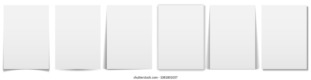Set of paper effect with transparent realistic shadows. Web banner, template or mock up. Brochures for promotional message isolated on white background. Flyers for your design and business.