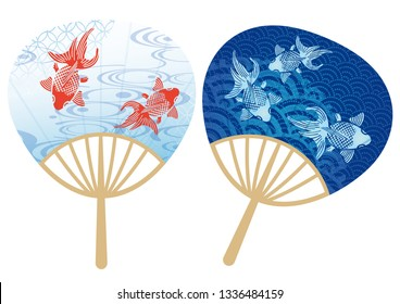 Set of paper fans with Japanese traditional patterns and gold fishes, vector illustration.