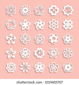 set of paper flowers with shadows on the pink background