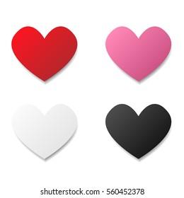 set of paper heart vector
