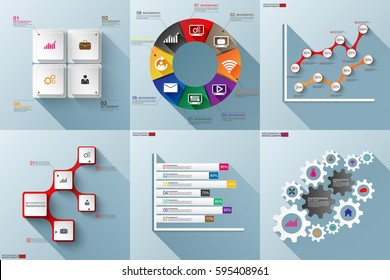 Set of paper infographics with long shadow vector design template. Business concept with 4, 5, 6, 7 and 8 options, steps or processes, workflow, diagram, histogram, marketing icons, info graphics.