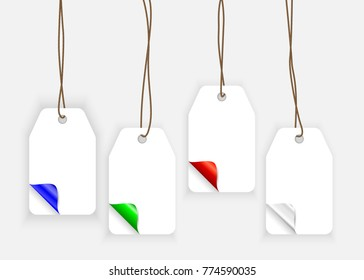 Set of paper label with curle corners in realistic style. Shopping tag templates isolated in grey bckground. Sale and discounts concept for advertising. Mock-up for gift tags