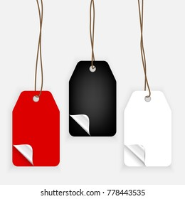 Set of paper label with curled corners in realistic style. Shopping tag templates isolated in grey background. Sale and discounts concept for advertising. Mock-up for gift tags
