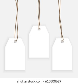 Set of paper label, shopping tag templates isolated in grey bckground. Sale and discounts concept for advertising. Mock-up for gift tags
