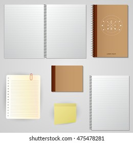 Set paper notes on a white background