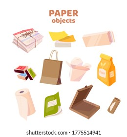 Set with paper objects. Newspaper, napkins, paper box, mathes, WOK box, notebook, pizza box, paper packaging. Vector cartoon flat illustration isolated on white background.