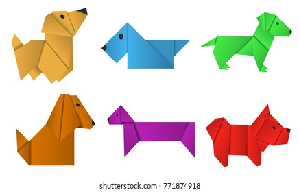 Set of paper origami dogs. Symbol of the year 2018.
