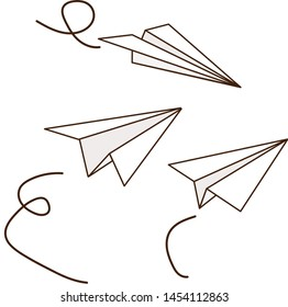 Set of paper planes isolated on white background