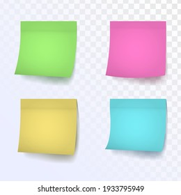 Set of paper reminder stickers in different colors