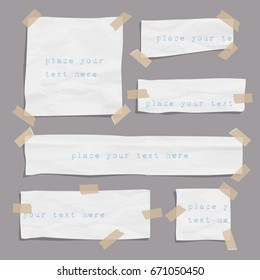 Set of paper ripped pieces different size with sticky tape. Paper shapes scraps. Vector elements for design