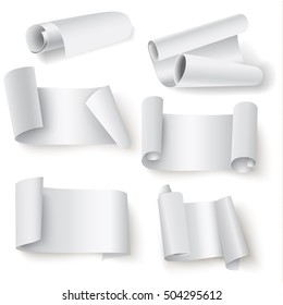 Set of paper rolls on a white background. Vector illustration