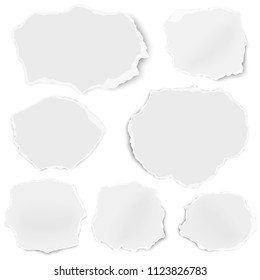 Set of paper rounded shapes fragments isolated on white background
