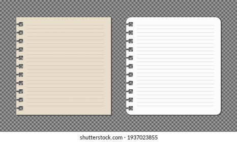 Set of paper sheets A4, A5 with shadows, realistic paper page mock up.