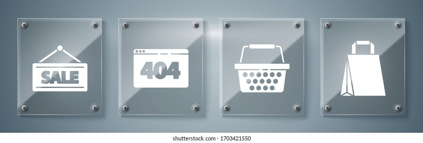 Set Paper shopping bag, Shopping basket, Page with a 404 error and Hanging sign with Sale. Square glass panels. Vector