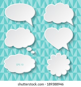 Set of paper speech bubbles, vector illustration.