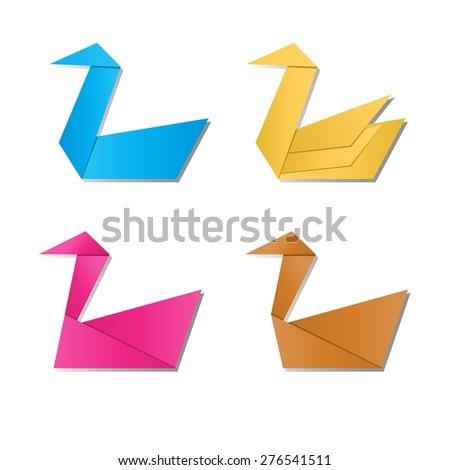 Set Paper Swan Paper Goose Vector Stock Vector Royalty Free