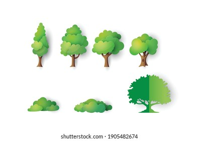 Set of paper tree isolated on white. paper cut style.