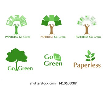 Set of paperless LOGO go green concept, paper tree, document leaf, save the planet, earth, tree, leaf logo design, polygonal, Abstract, flat vector style.