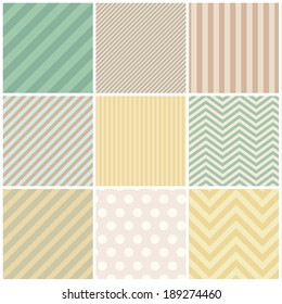 Set of papers for scrapbook or pack. Vector seamless backgrounds.