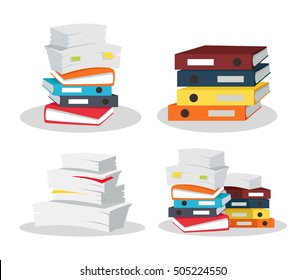 Set of papers tacks. Many business documents with bookmarks. Colorful binders. Paper work, office routine, bureaucracy concept. Flat design. Illustration for data, e-mail, management, services.
