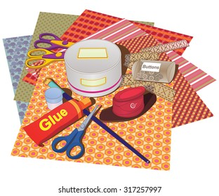 A set of papers and tools for scrapbooking classes.