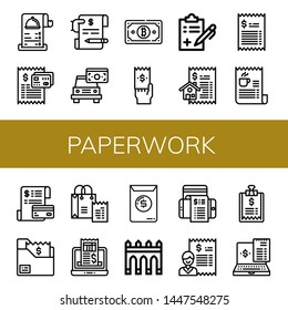 Set of paperwork icons such as Receipt, Bill, Invoice, Medical report, Aguas livres , paperwork
