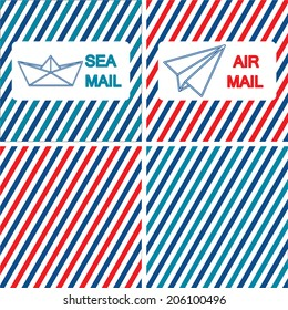Set of par Avion(or air mail) and sea mail vector illustrations on the striped background