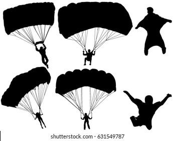 Set of parachute silhouette