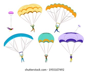 Set of parachutists involved in dangerous sports making jumps in the sky with a parachute. Paratroopers descending with parachutes set. Paraglide and parachute jumping characters