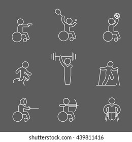 Set of paralympic game, disabled, wheelchair sport athlete icons. Vector illustration