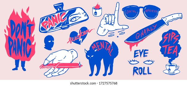 """A set of """"Paranoid theme"""" concept pins/ stickers design collection, cute, fun and mean anti social vibe, simple 2 tone mono pastel color, flat hand drawn style"""