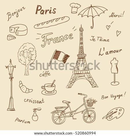 Set Paris French Symbols Stock Vector Royalty Free 520860994