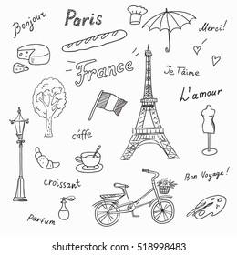 Set of Paris french symbols,landmarks.Travel icons Eiffel Tower, perfume,fashion,coffee,flag.Used the words:France,Paris,love you,thank you, hello,croissant,perfume,travel.Black and white sketch.