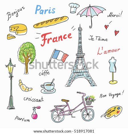 Set Paris French Symbolslandmarks Travel Icons Eiffel Stock Vector
