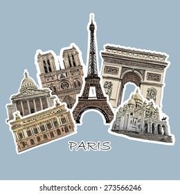 Set of paris landmarks, vector illustration