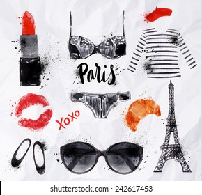 Set Paris with various symbols eiffel tower, glasses, croissant, lipstick, shoes, lingerie drawing with watercolor on crumpled paper