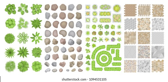 Set of park elements. (Top view) Collection for landscape design, plan, maps. (View from above) Pavements, stones, trees, flower beds.