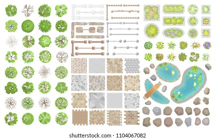 Set of park elements. (Top view) Collection for landscape design, plan, maps. (View from above) Fences, pavements, stones, ponds, trees and flowers.