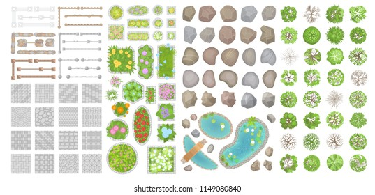Set of park elements. (Top view) Collection for landscape design, plan, maps. (View from above) Pavements, stones, trees, flower beds, fence.