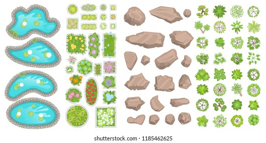 Set of park elements. (Top view) Collection for landscape design, plan, maps. (View from above) Ponds, stones, trees, flower beds.