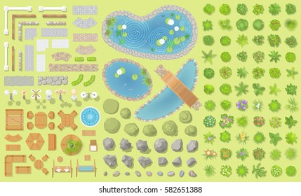 Set of park elements. (Top view) Collection for landscape design, plan, maps. (View from above) Fences, paths, lights, benches, tables, chairs, stones, ponds and trees.