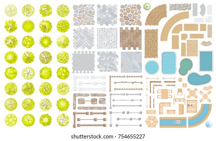 Set of park elements. (Top view) Collection for landscape design, plan, maps. (View from above) Fences, paths, furniture, swimming pools and trees.