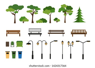 Set of park and sity elementsor icons. Vector constructor for sity urban design.