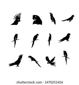 set of parrot logo icon design vector illustration