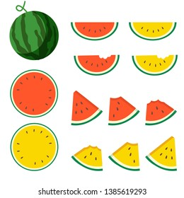 a set of part a watermelon pack. have full and slice of watermelon and watermelon that is bitten. and have a red color and yellow color.watermalon in cute flat vector style