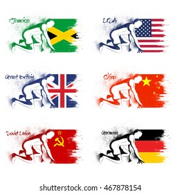 Set of Participant Countries Flags including Jamaica, United States of America, Great Britain, China, Soviet Union and Germany for Sports concept.