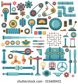 A set of parts of machinery. Gears, pipes, fittings, flanges, levers, propellers, housings, brackets, buttons, switches, knobs, lamps and other.