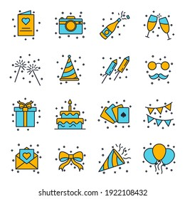 Set of Party icon. Party Festival pack symbol template for graphic and web design collection logo vector illustration